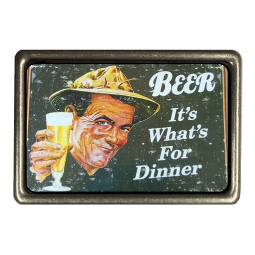 Cadora Gürtelschnalle Buckle Vintage Retro Werbung Beer it´s what´s for dinner Bier